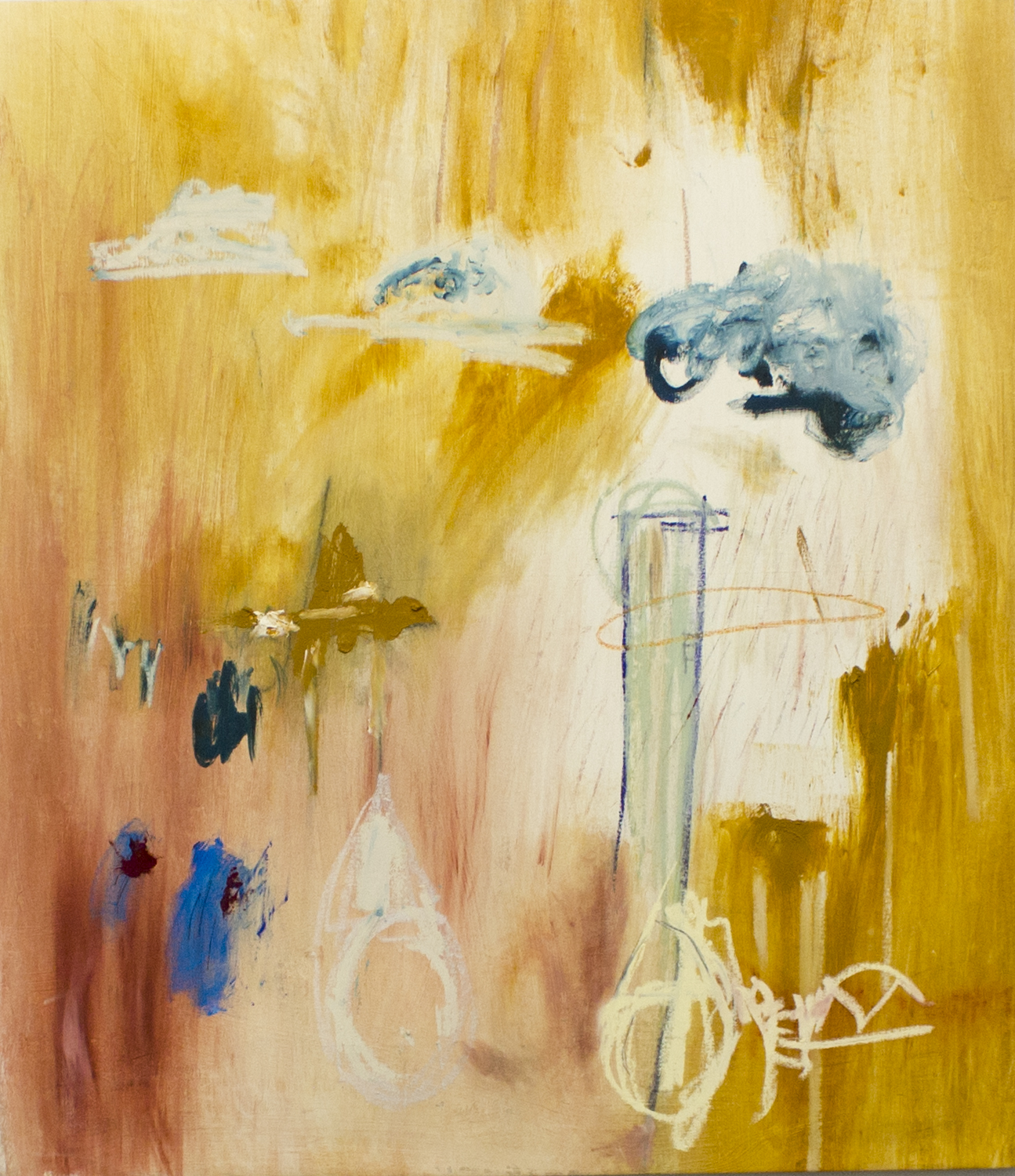 Transitions to Uncertainty (in Three) , 2016  52 x 46 Inches  Oil, Acrylic, Graphite, Charcoal, Colored Pencil, Oil Stick, and Oil Pastel on Canvas