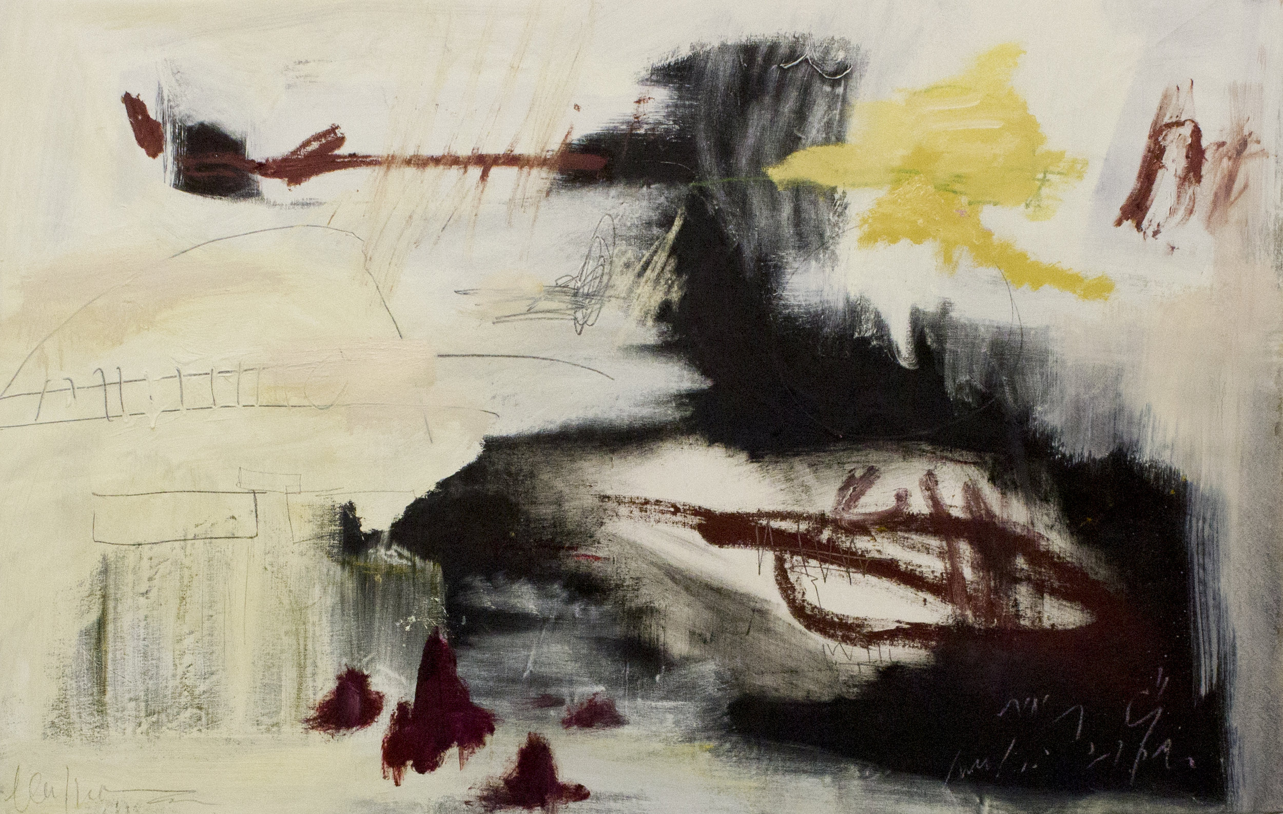 Alone in a Dream: Les Deux Magots , 2017  36 x 56 Inches  Oil, Acrylic, Graphite, Oil Stick, and Crayon on Canvas