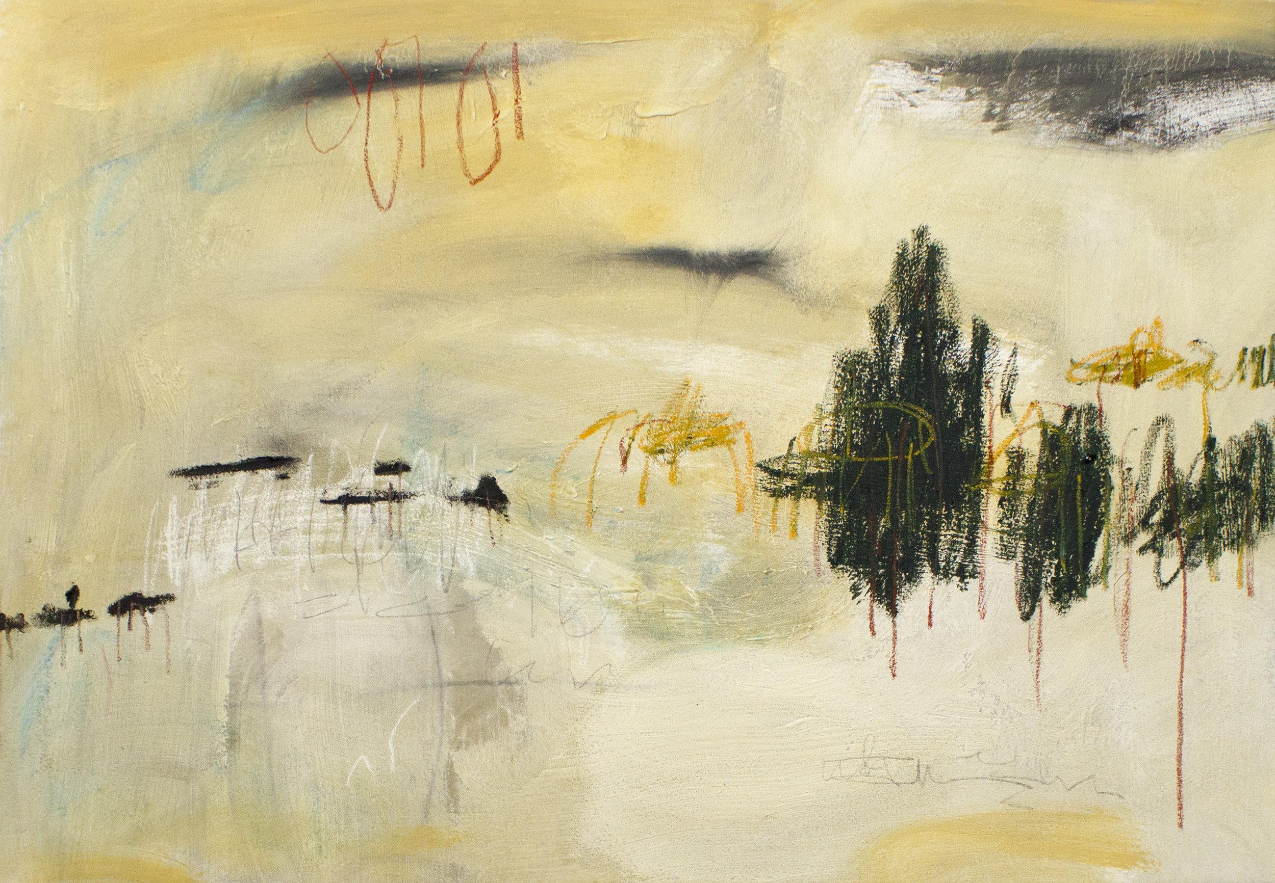 La Dispute de L'homme , 2018  28 x 40 Inches  Oil, Acrylic, Oil Stick, Oil Pastel, Colored Pencil, Graphite and Chalk Pastel on Canvas