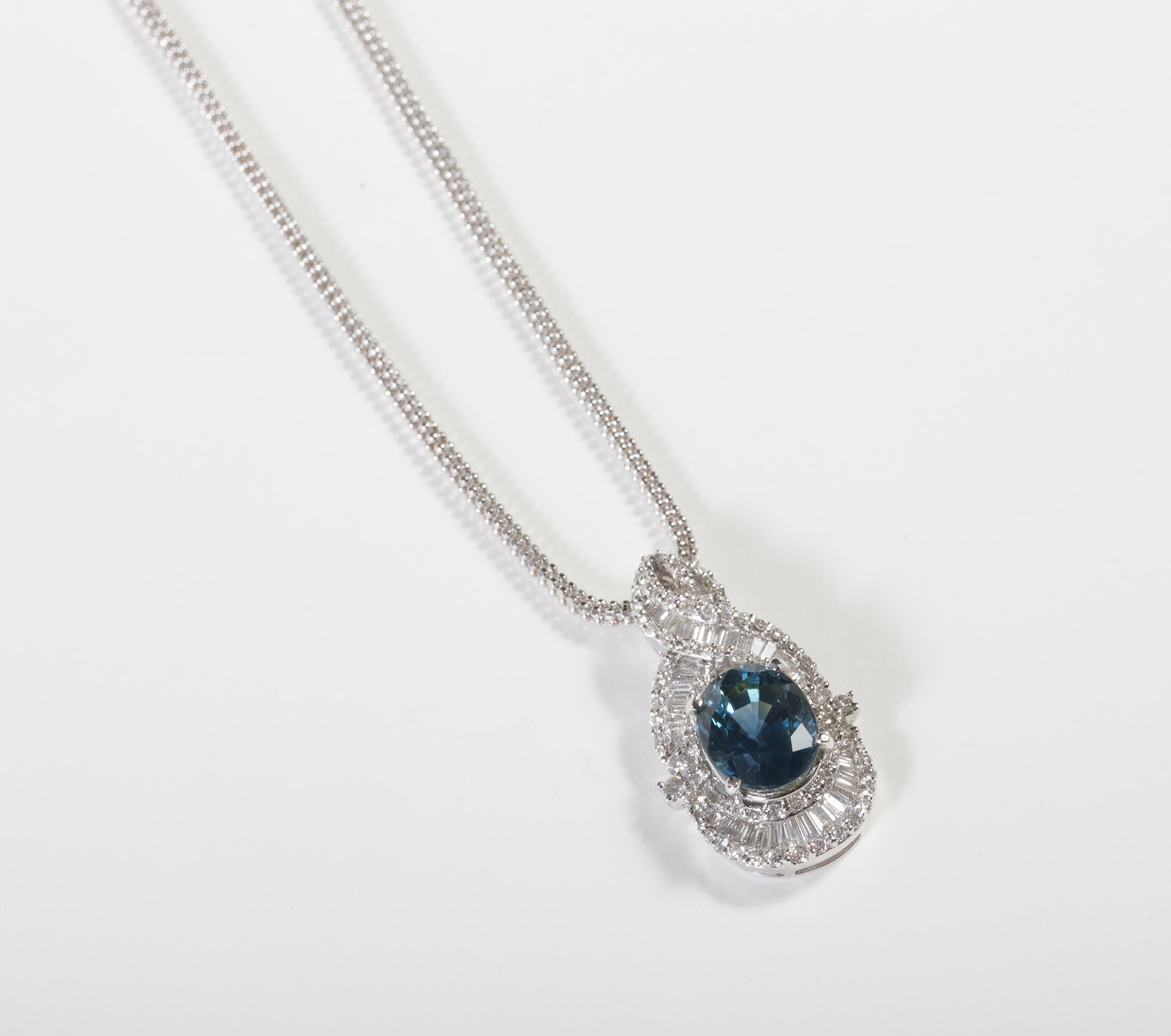 6.31ct Sapphire and Diamond Pendant set in 18k White Gold $9,900