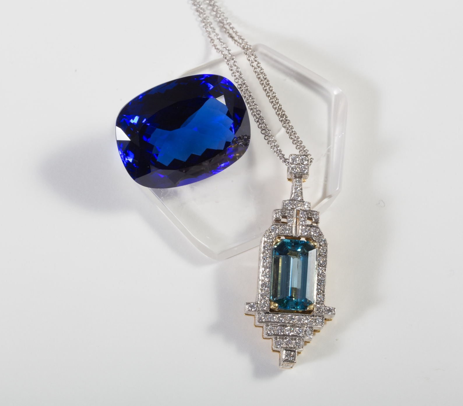 5.96ct Aquamarine Pendant set in 18k Hand Engraved White Gold with 18k Yellow Gold Accents $16,500