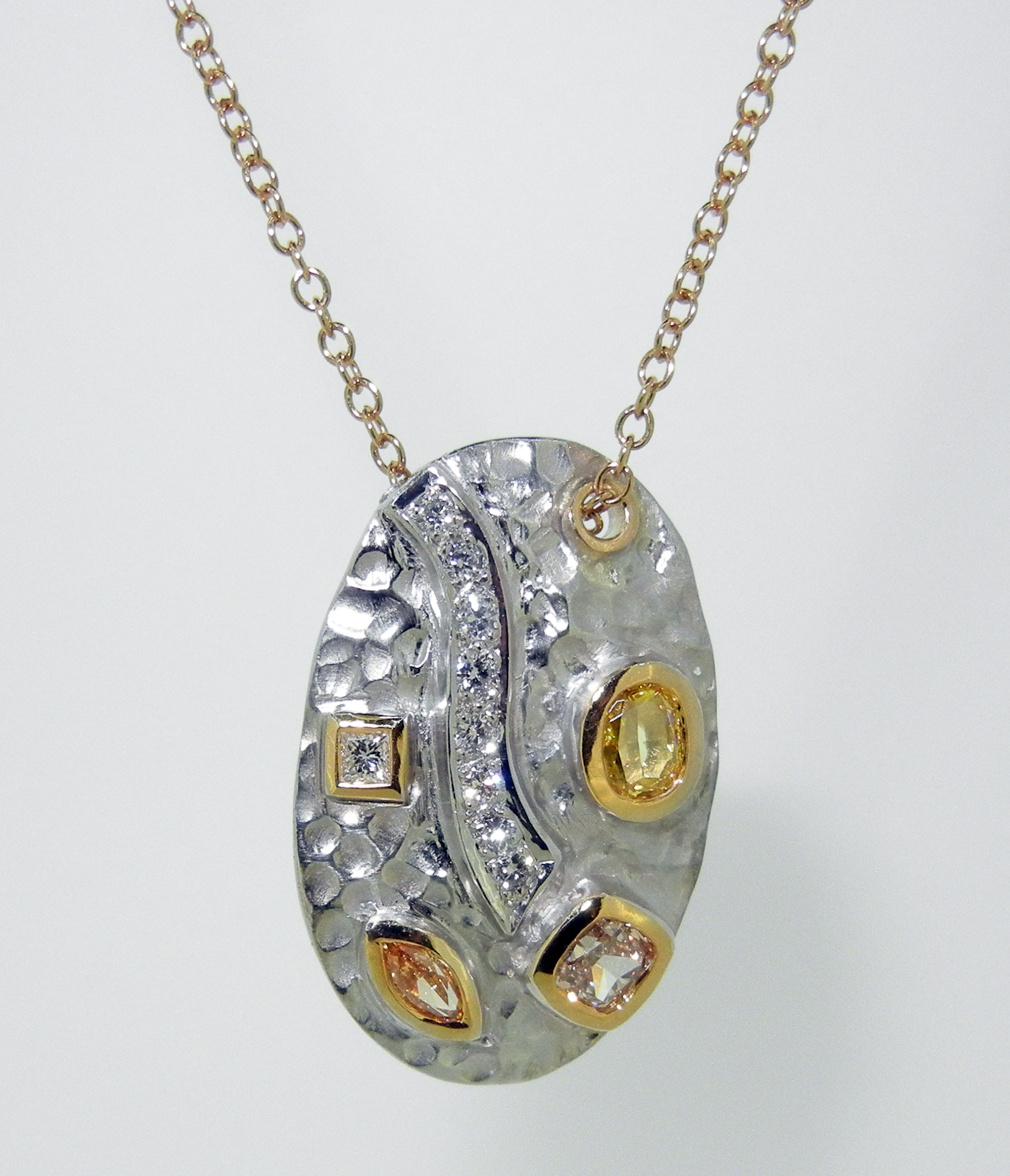 Custom Made Hammered 18k Oval set with Natural Fancy Colored and White Diamonds $5,750