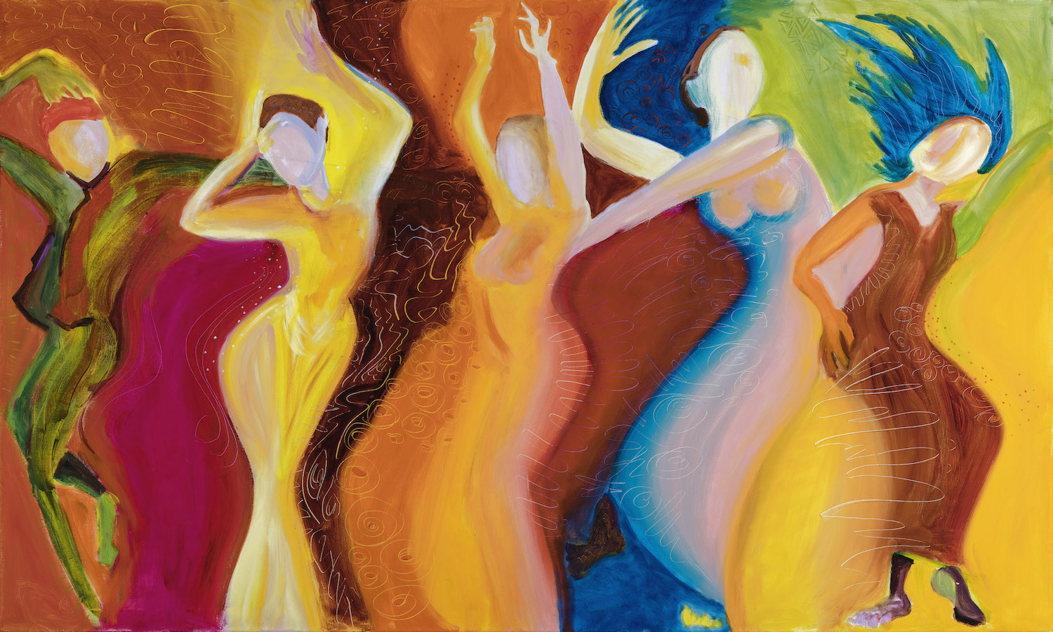 "5 Women Dancing 36"" x 60""  Gallery Mount Print $900 (plus S/H)"