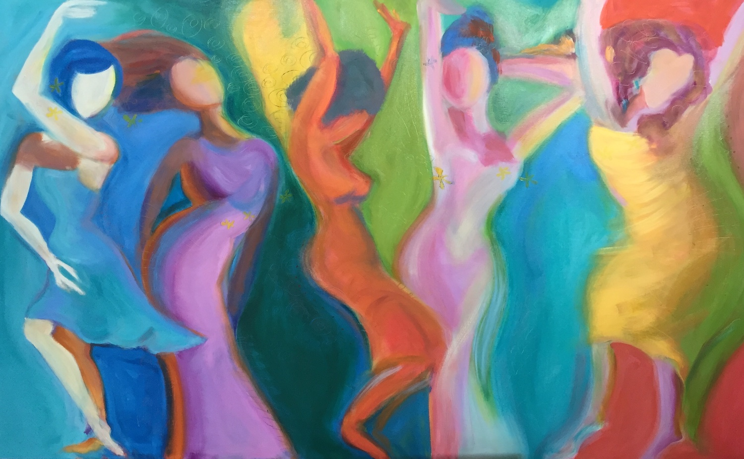 "Five Women Dancing II 36"" x 60""  Gallery Mount Print $900 (plus S/H)"