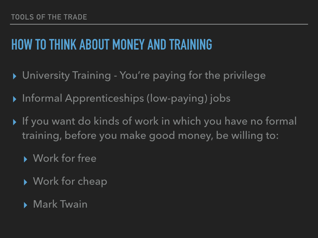 How to think about money and training