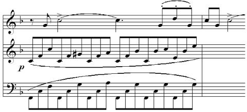 Fig. 3. Subtle Use of Polyrhythm (Op. 15, mvt. 1, m. 210)
