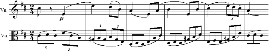 Fig. 4. Further Use of Polyrhythm (Op. 11, mvt. 6, m. 71)