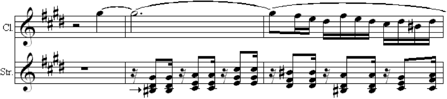 Fig. 7b. Passage as Brahms Composed it (Op. 68, mvt. 3, m. 39)