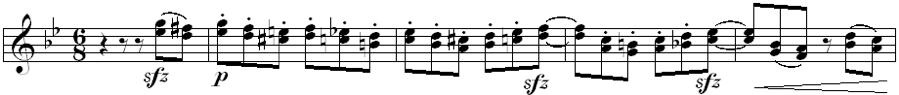 Fig. 8. Deregulated Meter (Op. 56A, m. 206)