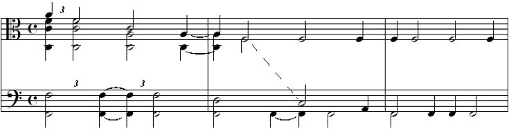 Fig. 10. Metric Displacement, Rhythmic Suggestions and Hocket (Op. 16, mvt. 1, m. 46)