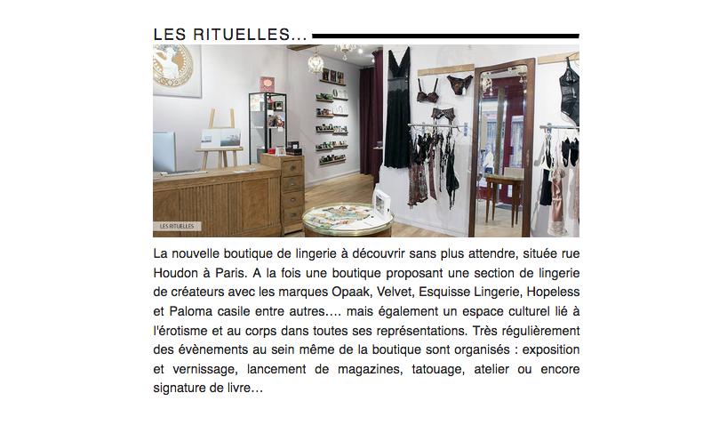 Article sur Les Rituelles - newsletter Promostyl
