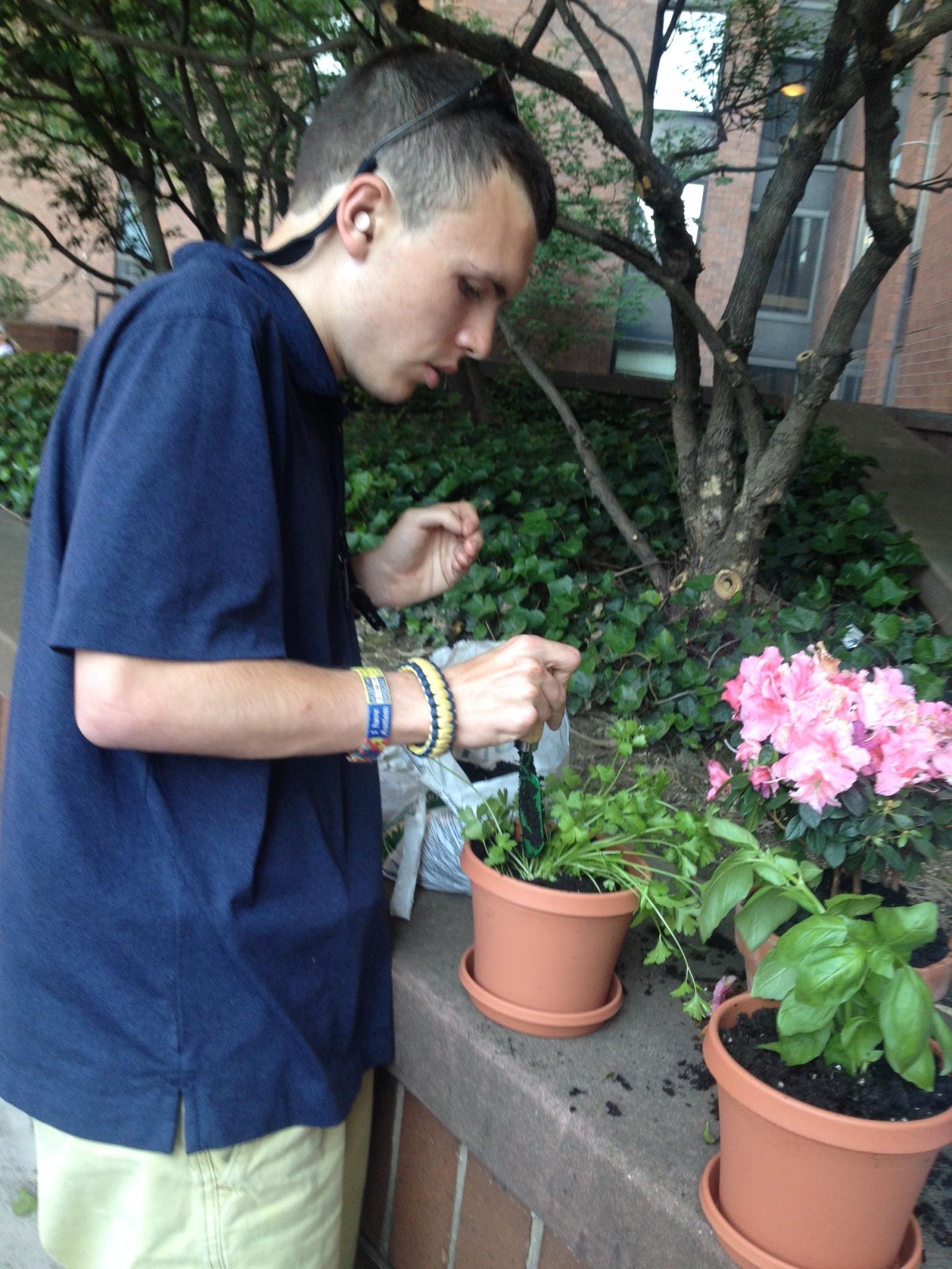 Dustin Sweeney gardening on 91st Street in Manhattan