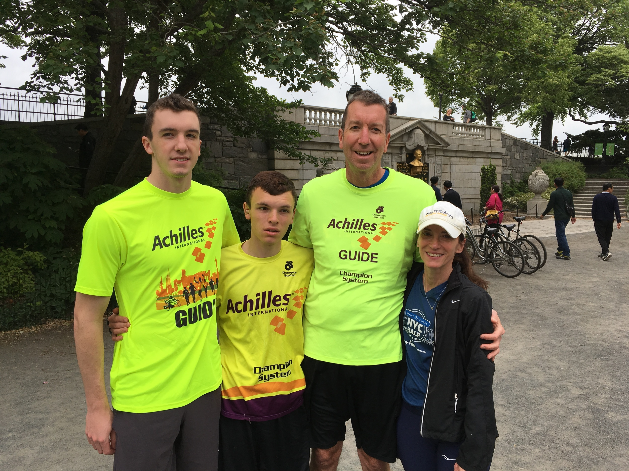 Dylan, Dustin, Mike, and Katie Sweeney @ Achilles Track Club - Central Park, New York City - May 2016