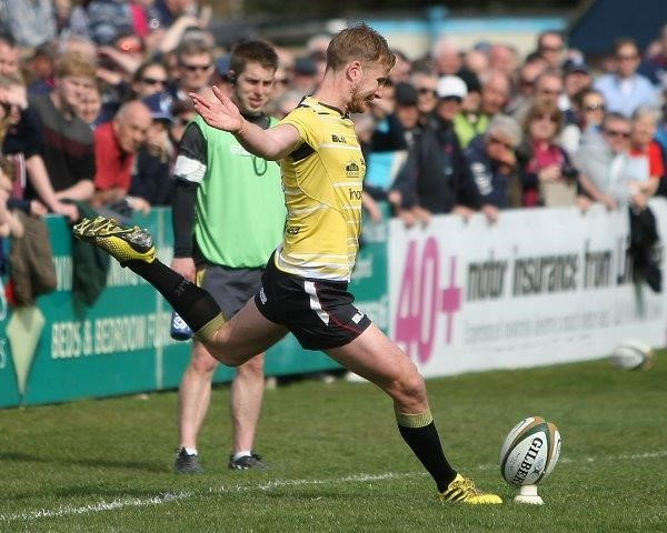 Will Cargill's third conversion drew the scores level at 24-all – Photo: Brian Tempest