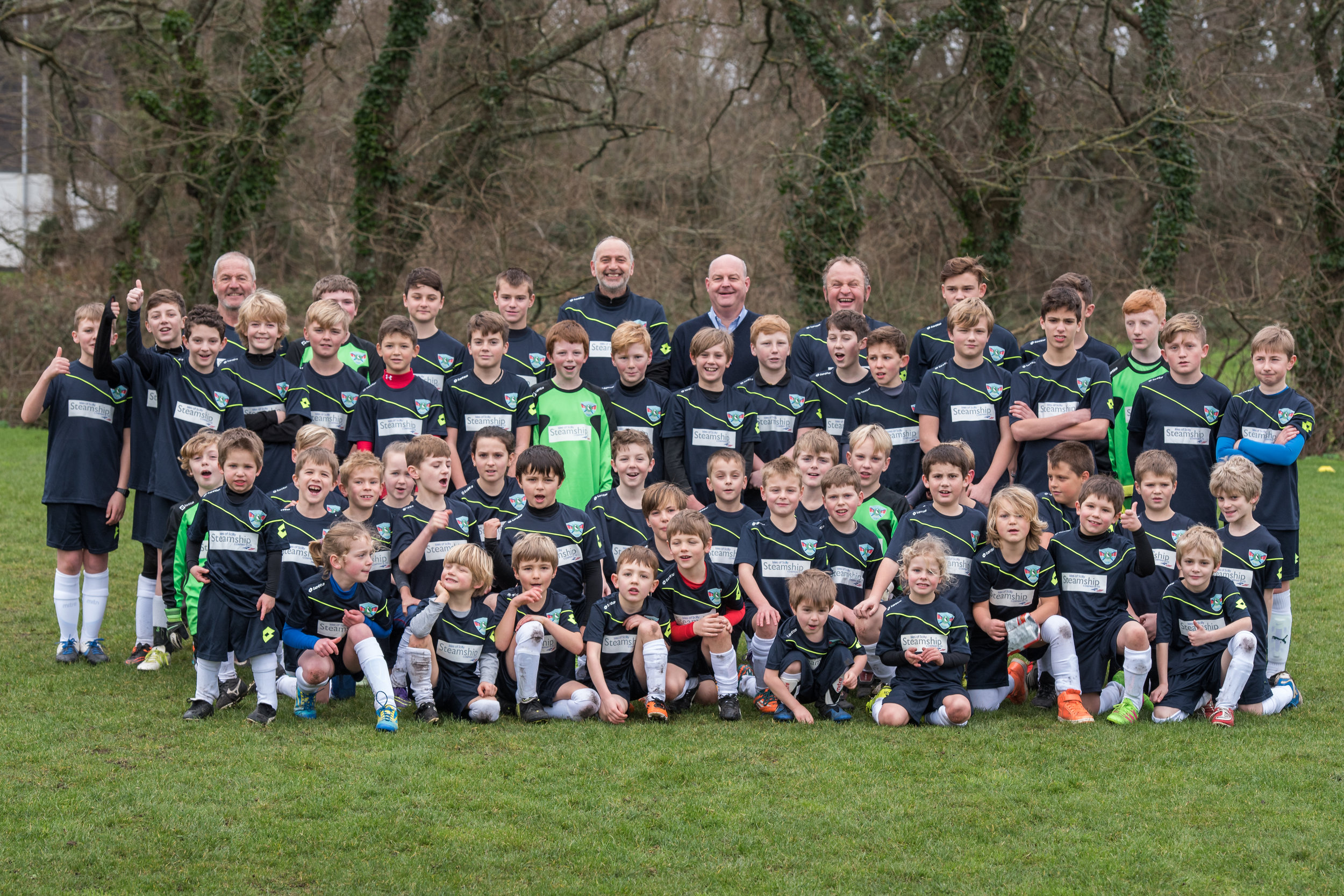 Children from the Five Islands School Football in their new kits.