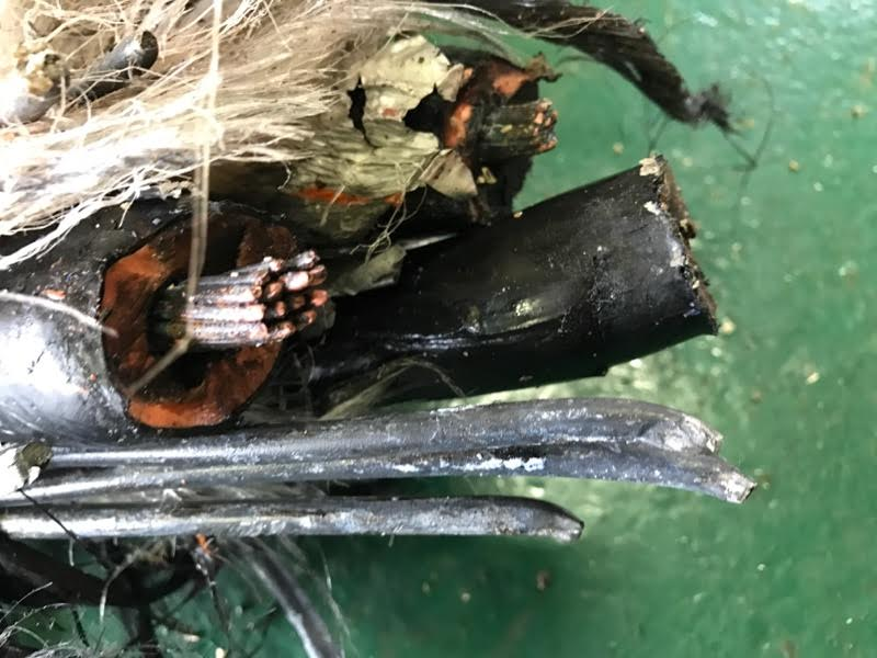 The damaged cable. Images Courtesy of WPD.
