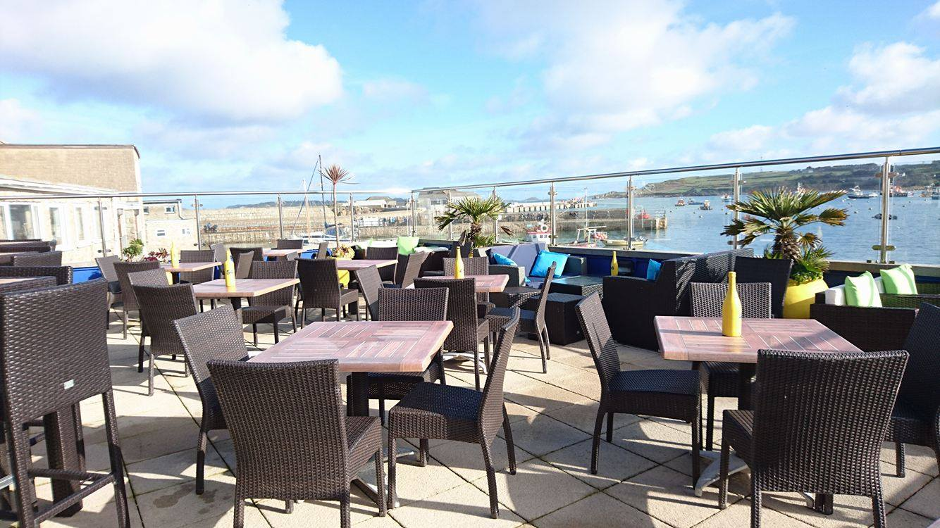 The roof terrace of the Atlantic On St Mary's, overlooking the Harbour.