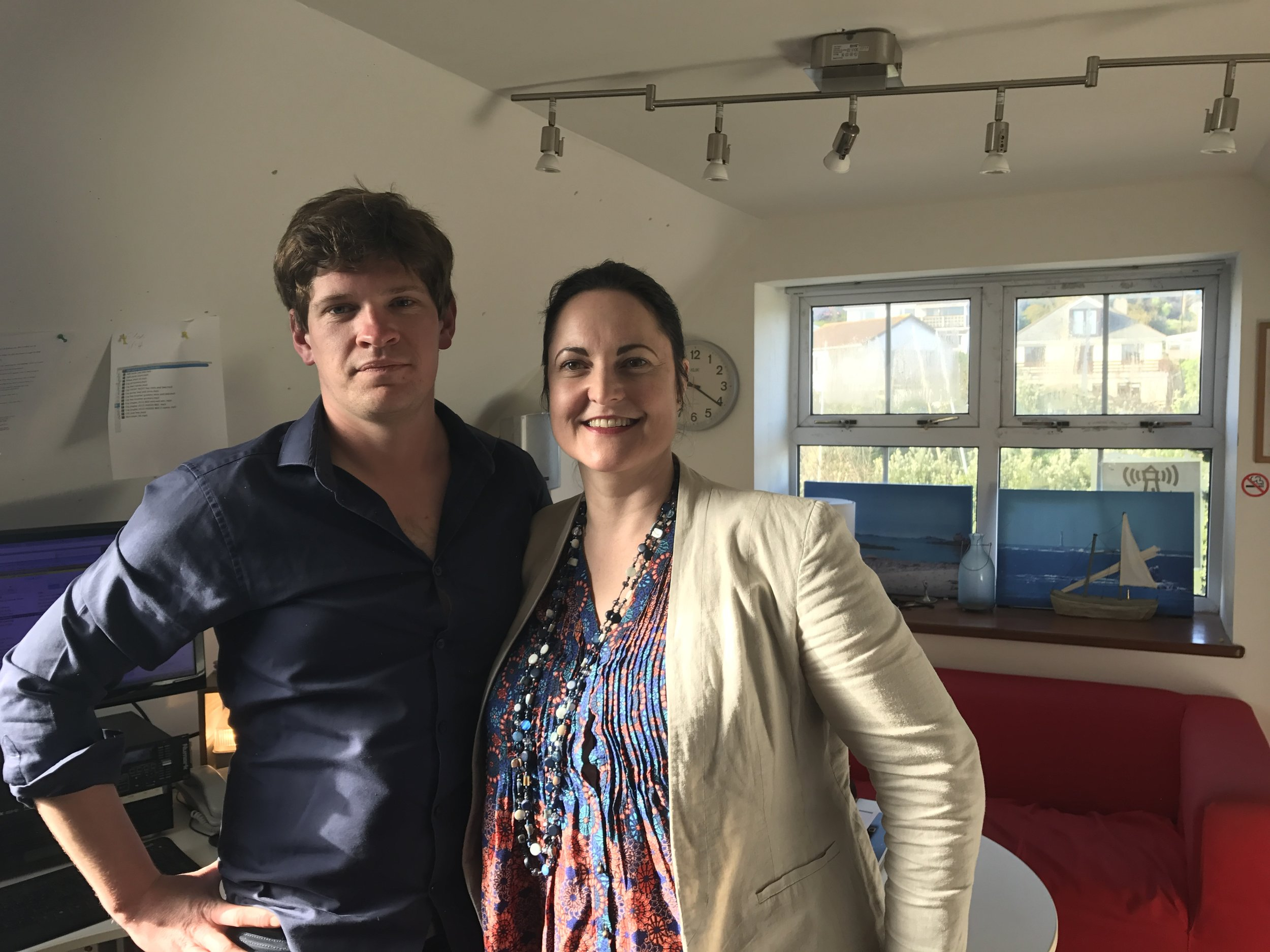 Alison with Will in the Radio Scilly studio.