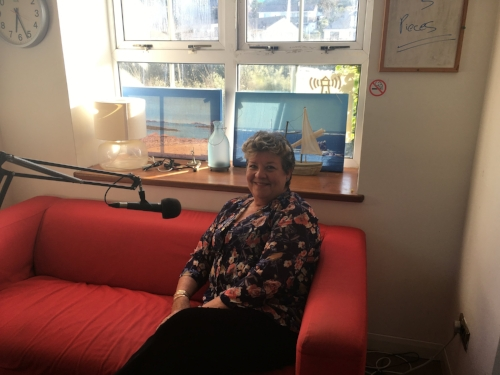 Rose Bowen chatting to Zoe in the Radio Scilly studio.