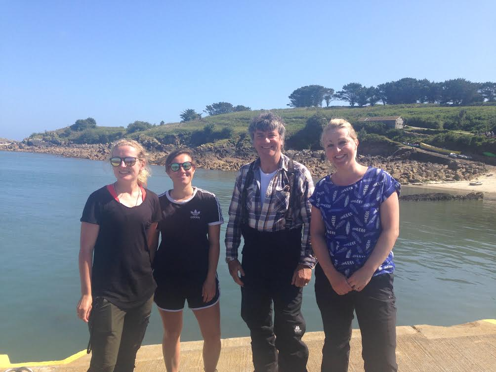 Members of the Isles of Scilly Seabird Recovery Project on St Agnes with Martin Hughes-Games (second right) from Springwatch.