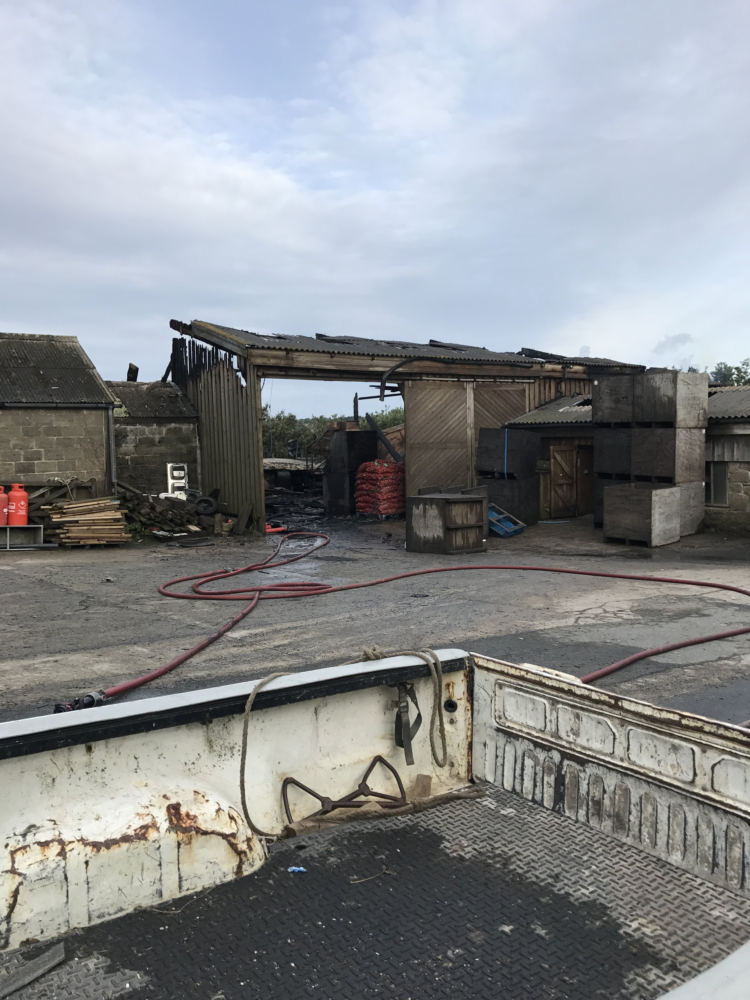 The devastation caused by the fire to one of farm buildings on King Edwards Road, St Mary's.Images courtesy of Eve Pritchard.