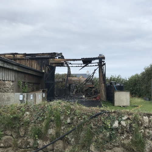 The devastation caused by the fire to one of farm buildings on Peninnis Farm.Images courtesy of Eve Pritchard.