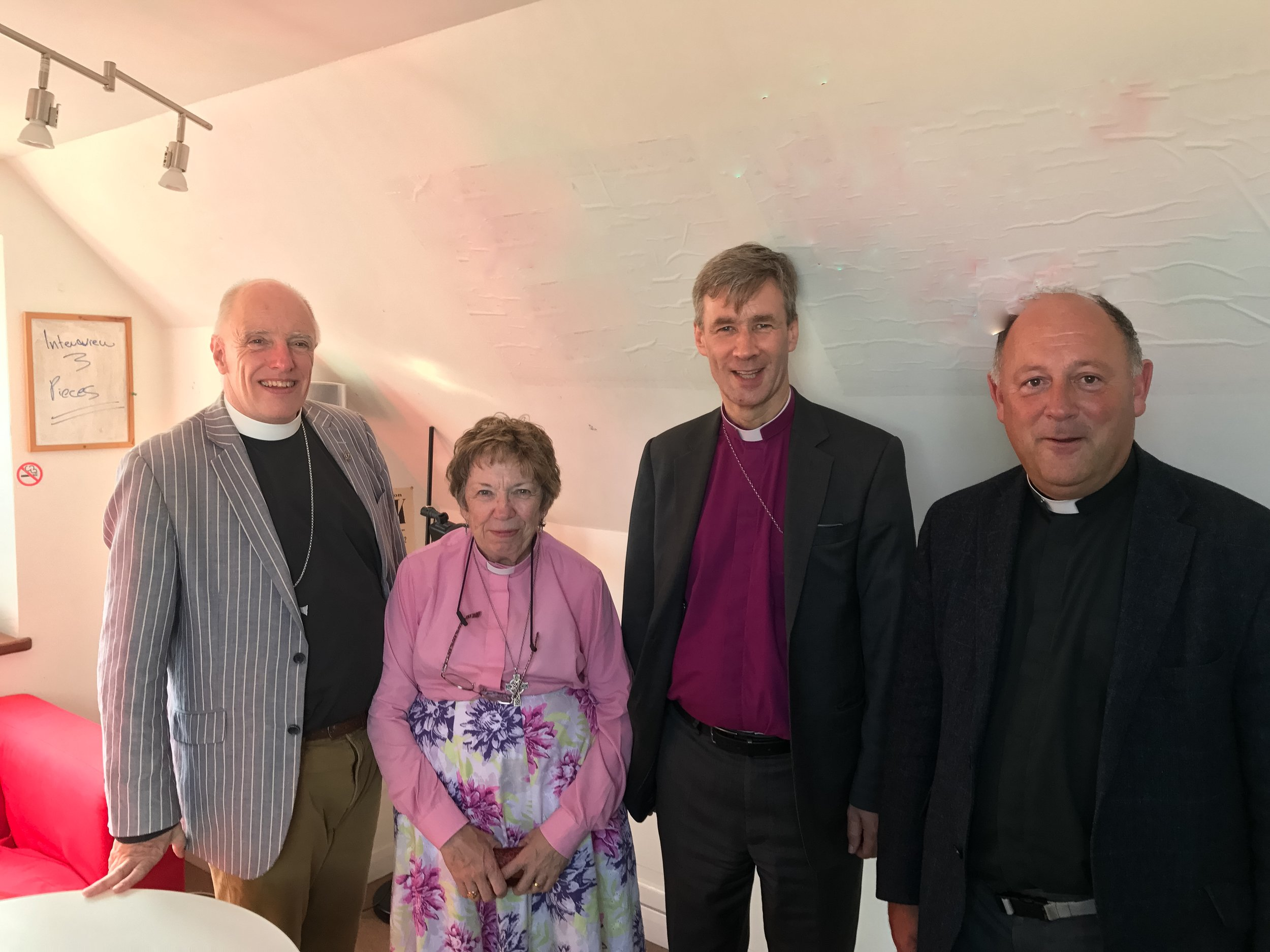 From left to right,Methodist Chairman for Cornwall, Rev Steve Wild,Methodist Minister in Scilly Rev Jane Willcock, Bishop of Truro, Rt Rev Tim Thornton and the Chaplin to Islands'Canon Perran Gay, in the Radio Scilly studio.