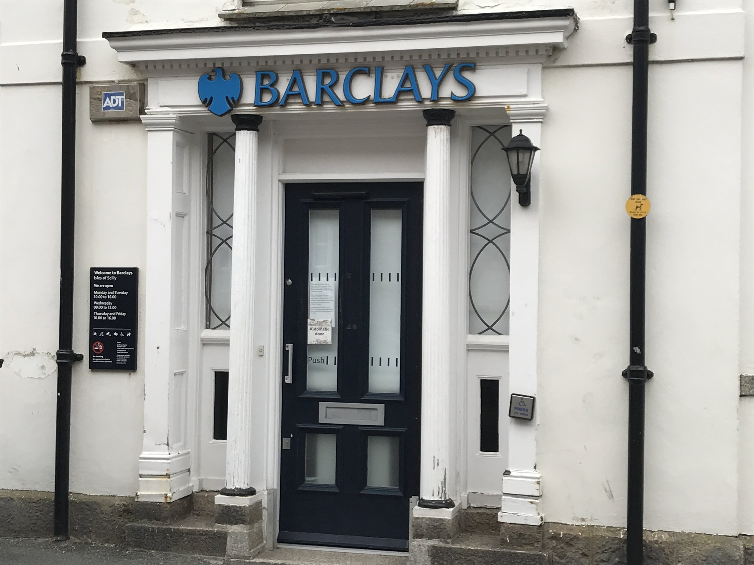 The local branch of Barclays Bank in Hugh Street on St Mary's.