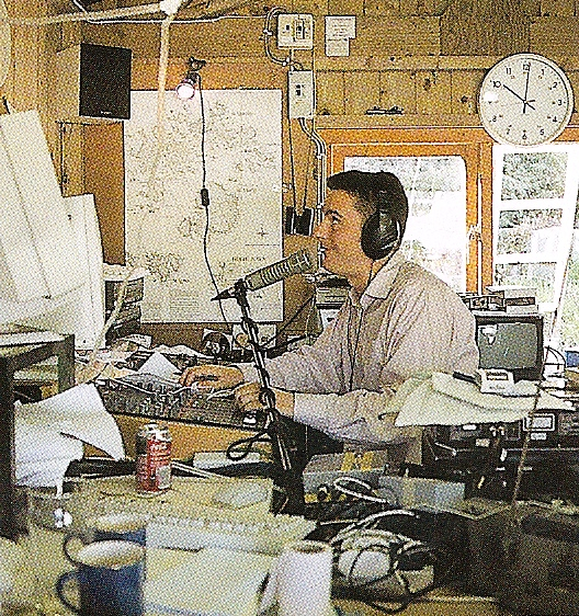 Keri Jones, pictured during one of the Radio Scilly trial broadcasts from the shed at Porthloo Boatyard.