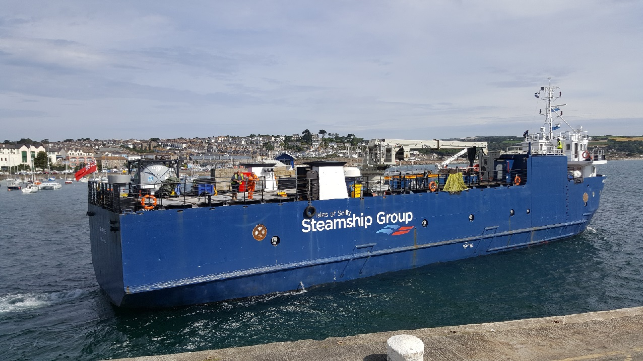 The Mali Rose, the Isles of Scilly Steamship Group's new freight vessel departing Penzance Harbour earlier on in the year.