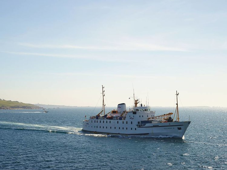 The Scillonian III on her way back to Penzance just after departure from St Mary's Quay.
