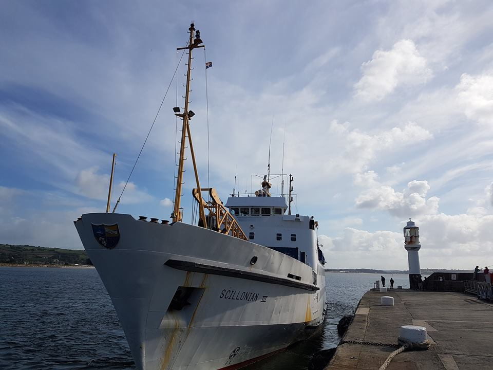 The Scillonian III alongside the quay in Penzance.