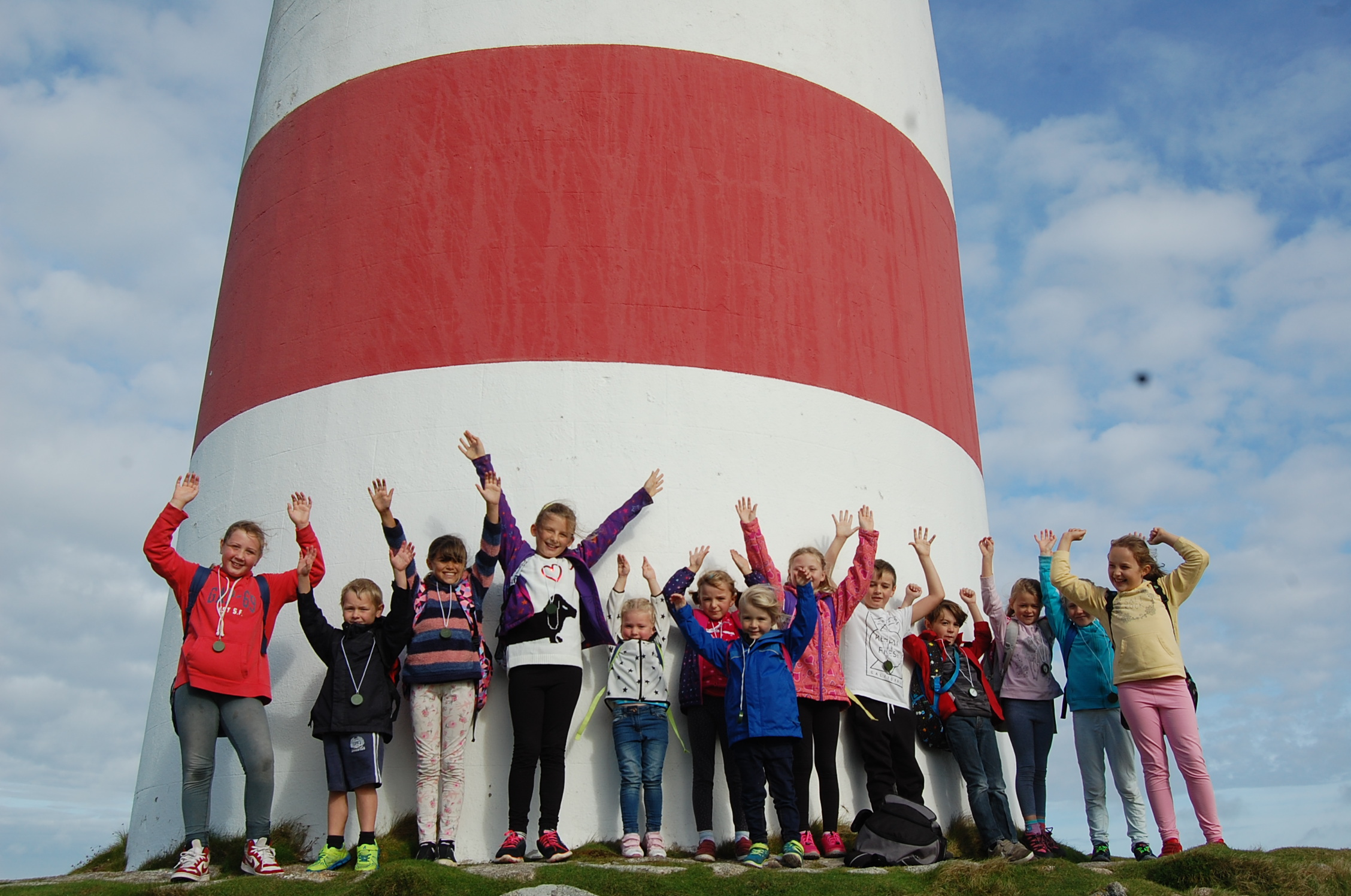 Students from the Five Islands School Tresco and Bryher base at the Daymark on St Martin's. Image courtesy of the Five Islands School.