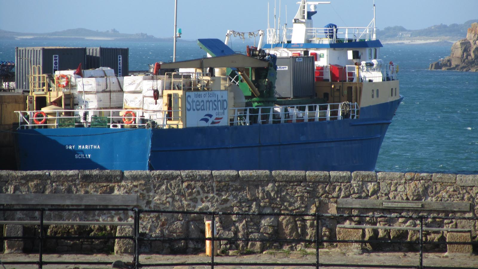The Gry Maritha alongside the quay on St Mary's..