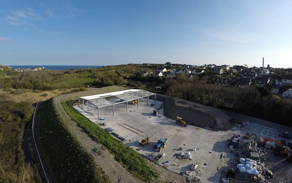 The Porthmellon Waste Managment Site on St Mary's during construction earlier on in the year.  Image courtesy of SCY TV and Merryn Smith.