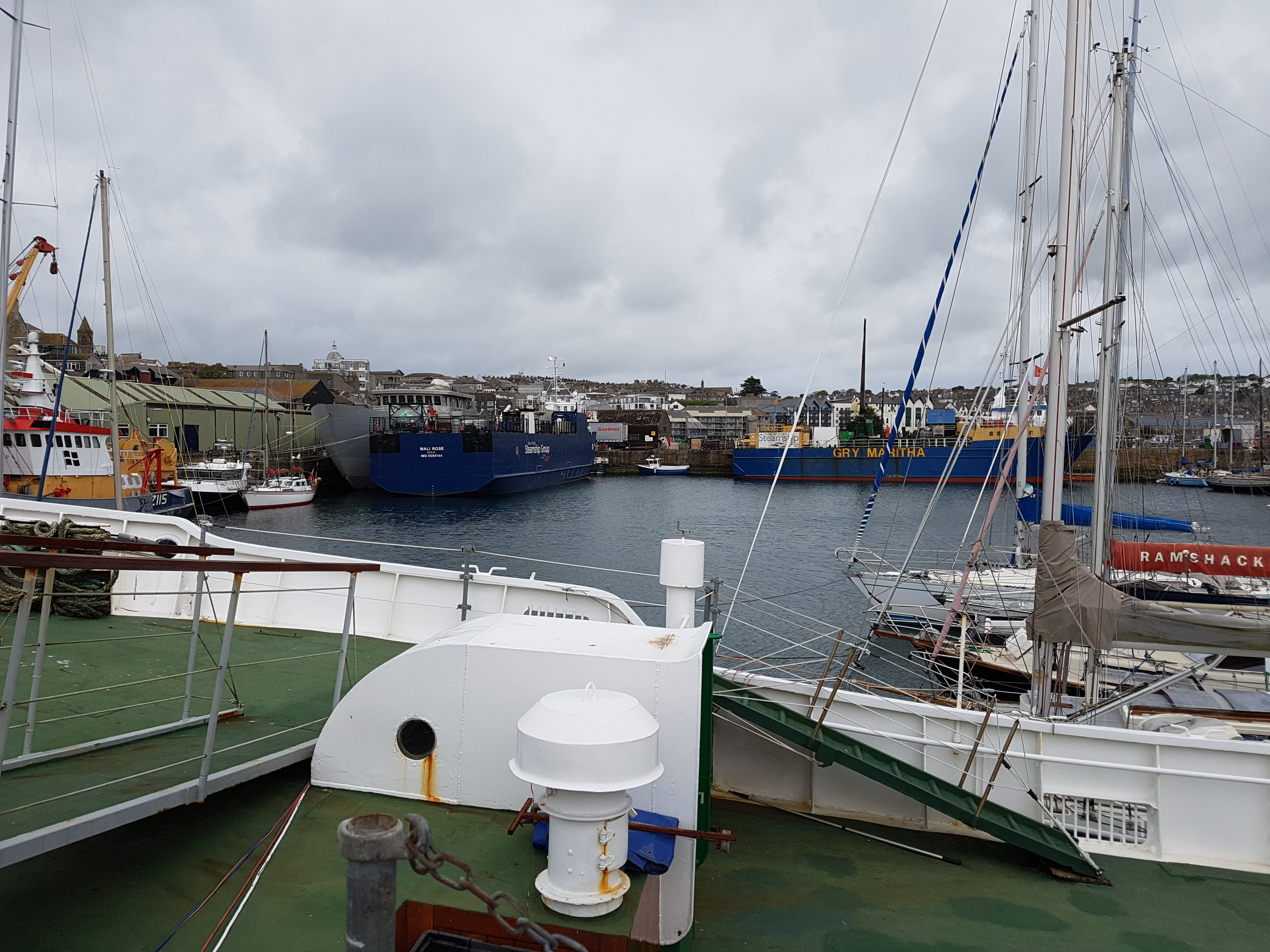 The Mali rose and Gry Maritha in Penzance Harbour.