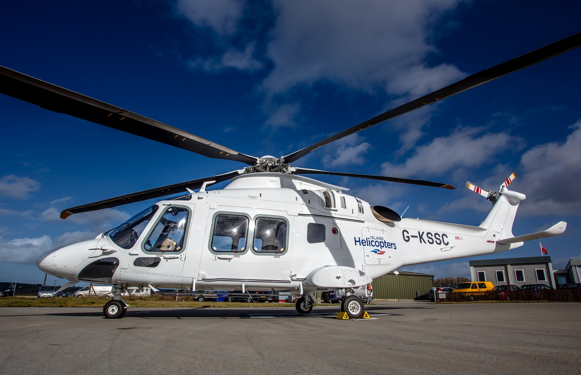 Island Helicopters 10-seater AW169 aircraft at Land's End Airport.