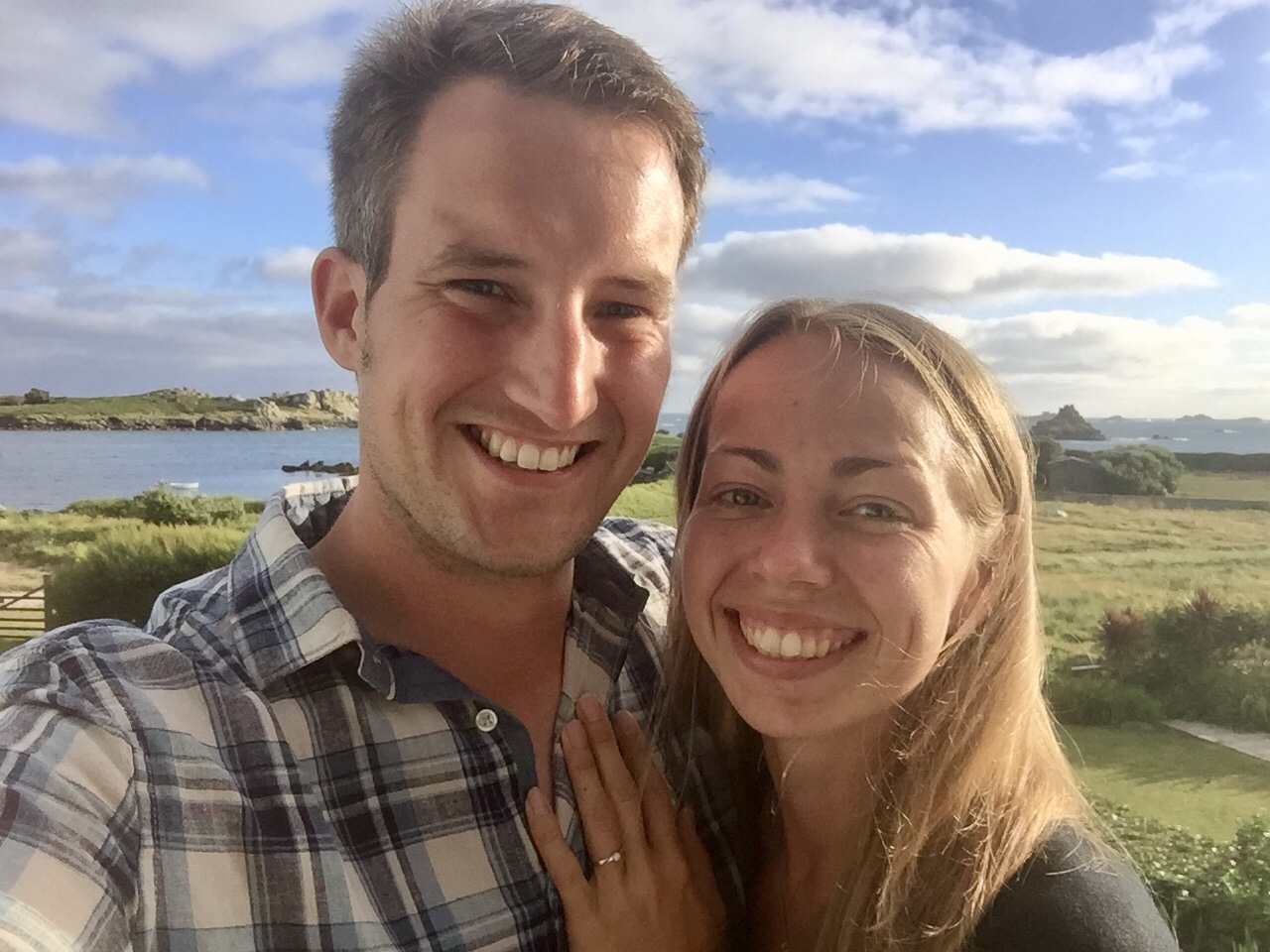 """Thank you so much - this is amazing news! We get married on 23rd June on Bryher so literally could not have come at a better time! We'll be putting the money towards making sure we have the most memorable day possible with all our friends and family! I've attached a pic of us both on Bryher when I proposed last year."""