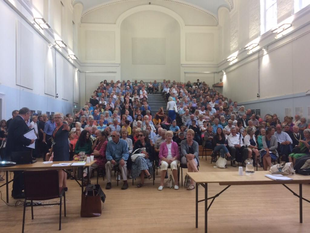 St John's Hall packed for the public meeting in Penzance to discuss the proposed Heliport in Penzance.Image Courtesy of Penzance Heliport Ltd.