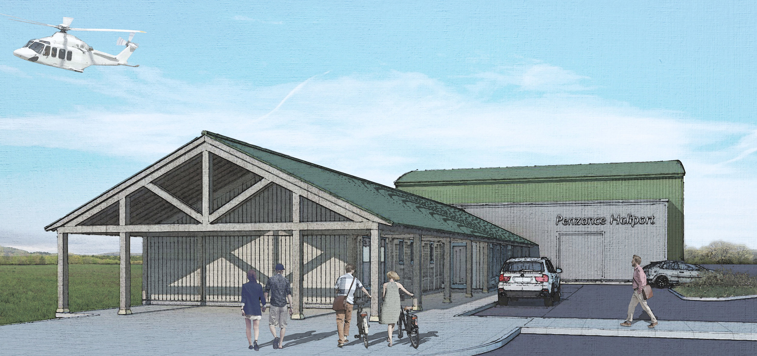 Artist impression of the new Penzance Heliport.
