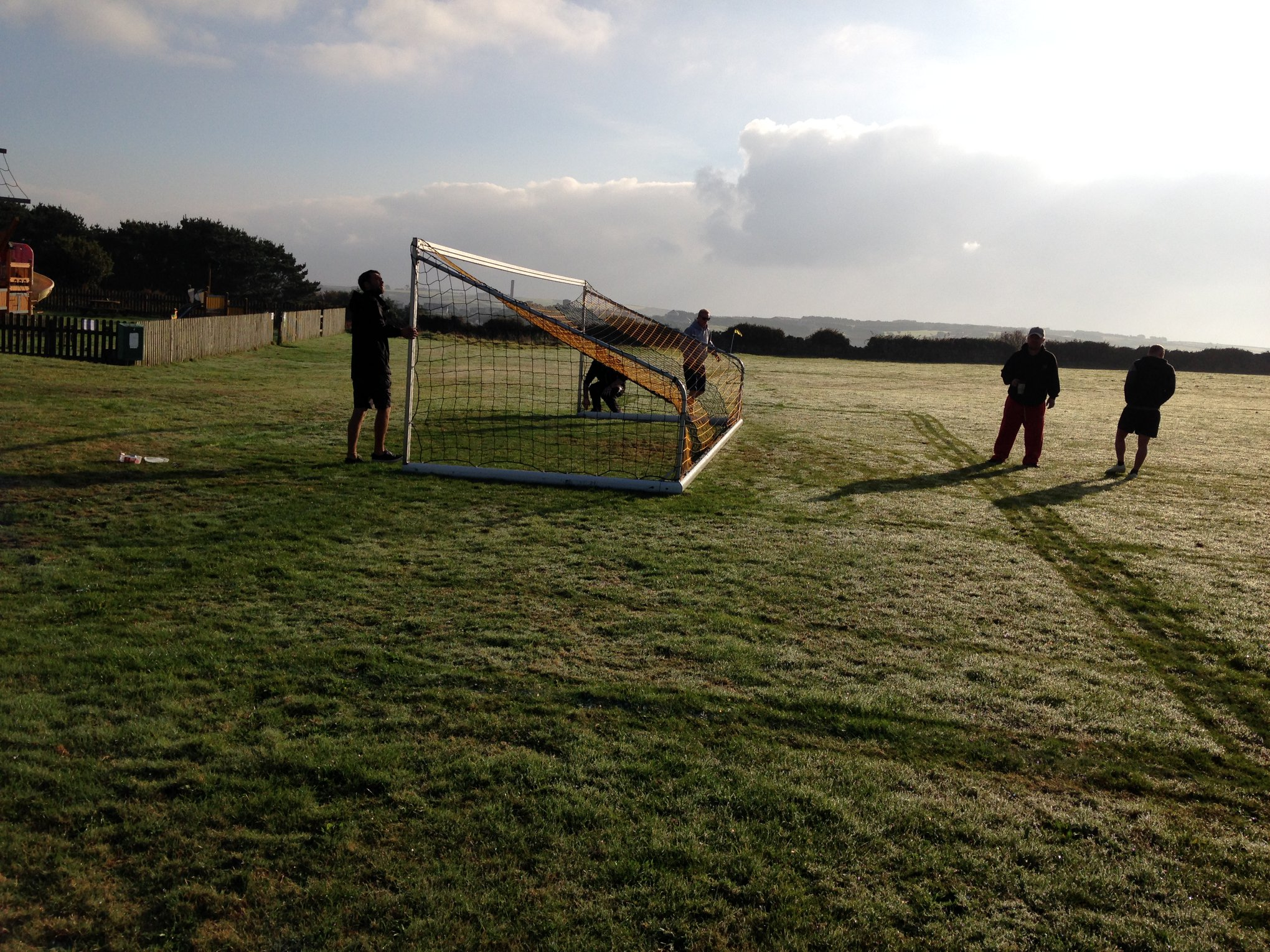 The goals being setup ahead of play.