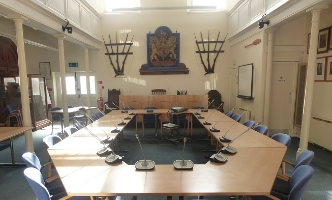 The Council Chamber in the Old Wesleyan Chapel on St Mary's.