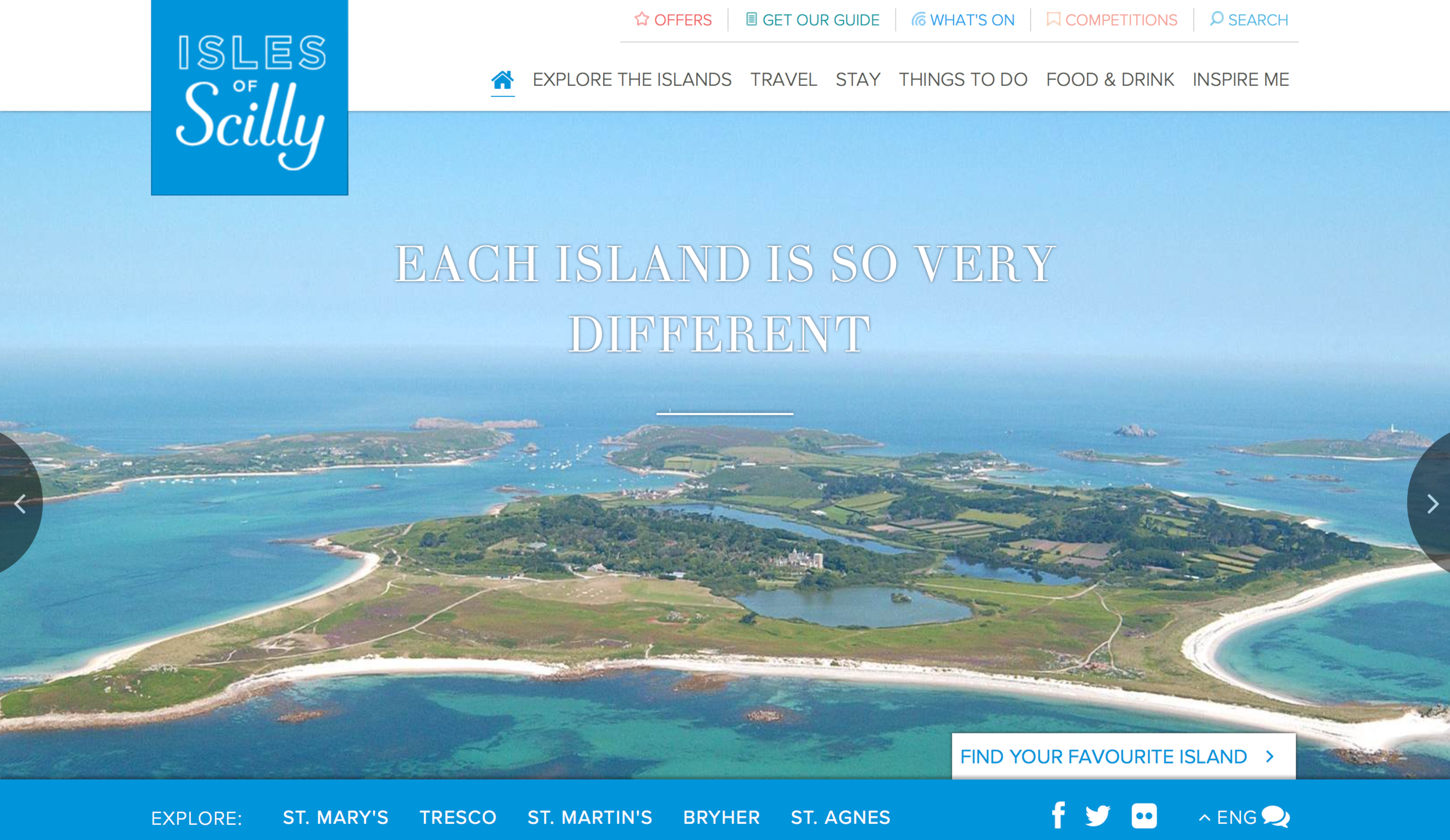 The homepage of the the current Visit Isles of Scilly Website. Image courtesy of Visit Isles of Scilly/Islands' Partnership.