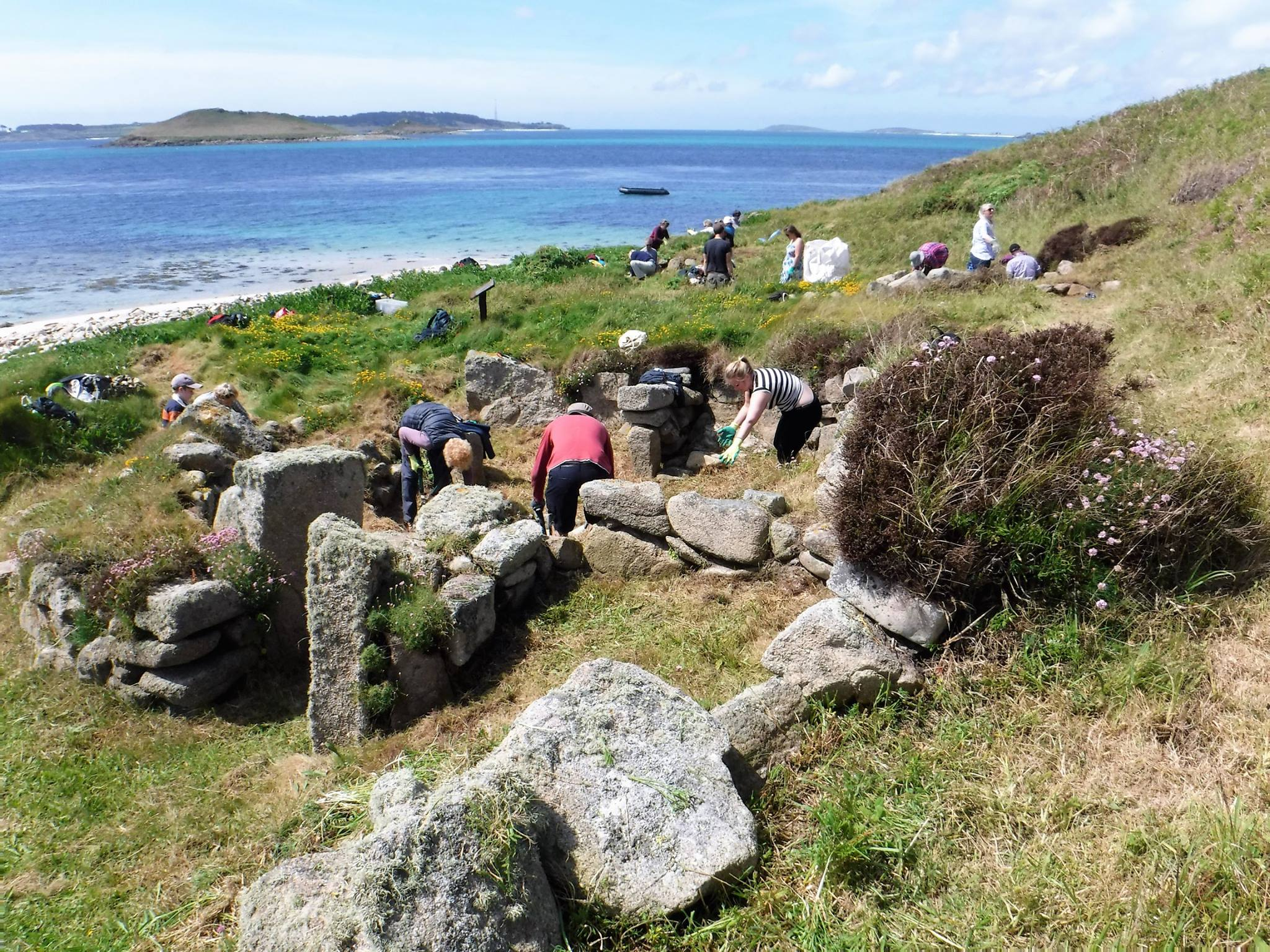 The Isles of Scilly Community Archaeology Group in action earlier on this year. Image courtesy of Isles of Scilly Community Archaeology Group/Facebook.