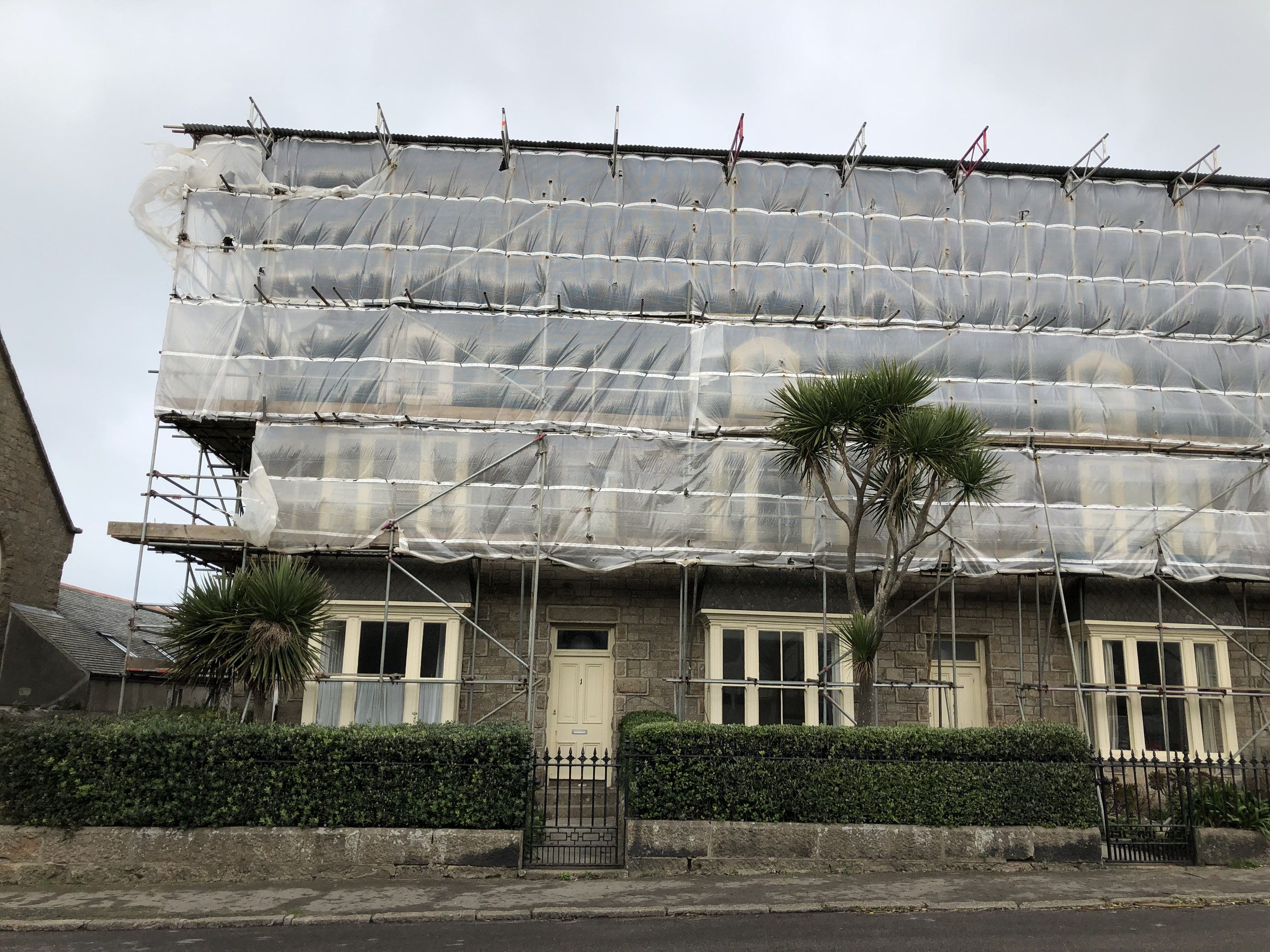 Springfield Court, a row of late Victorian terraced houses by St Mary's Hall Hotel, is currently having a new roof installed.