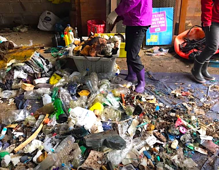 35 builders bags of rubbish were collected by Clean Ocean Sailing from Scilly. The bags have now been sorted and weighed at their base in Cornwall.