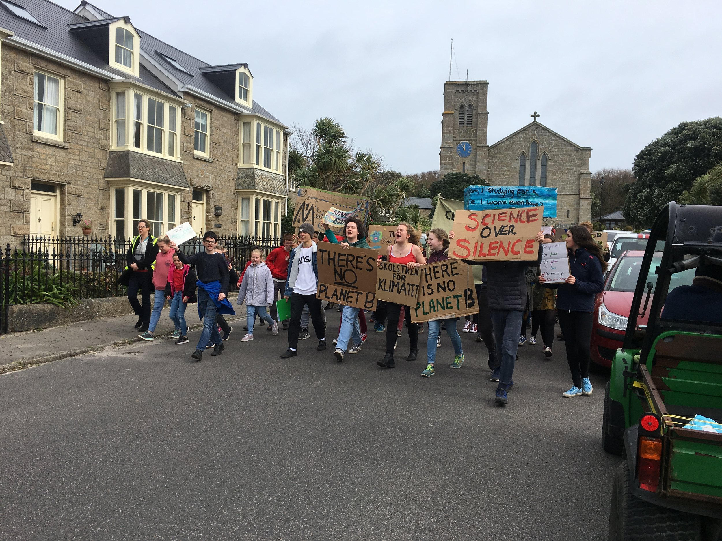 Around 150 pupils from Five Islands Academy joined youngsters in more than 120 countries by skipping school on Friday to demand politicians take action on Climate Change.