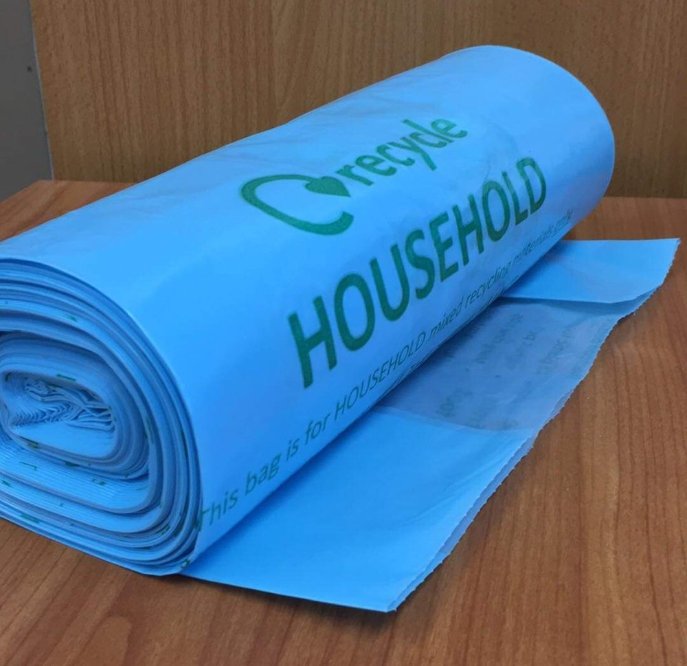 All Council Tax properties should receive more blue household recycling sacks this week.