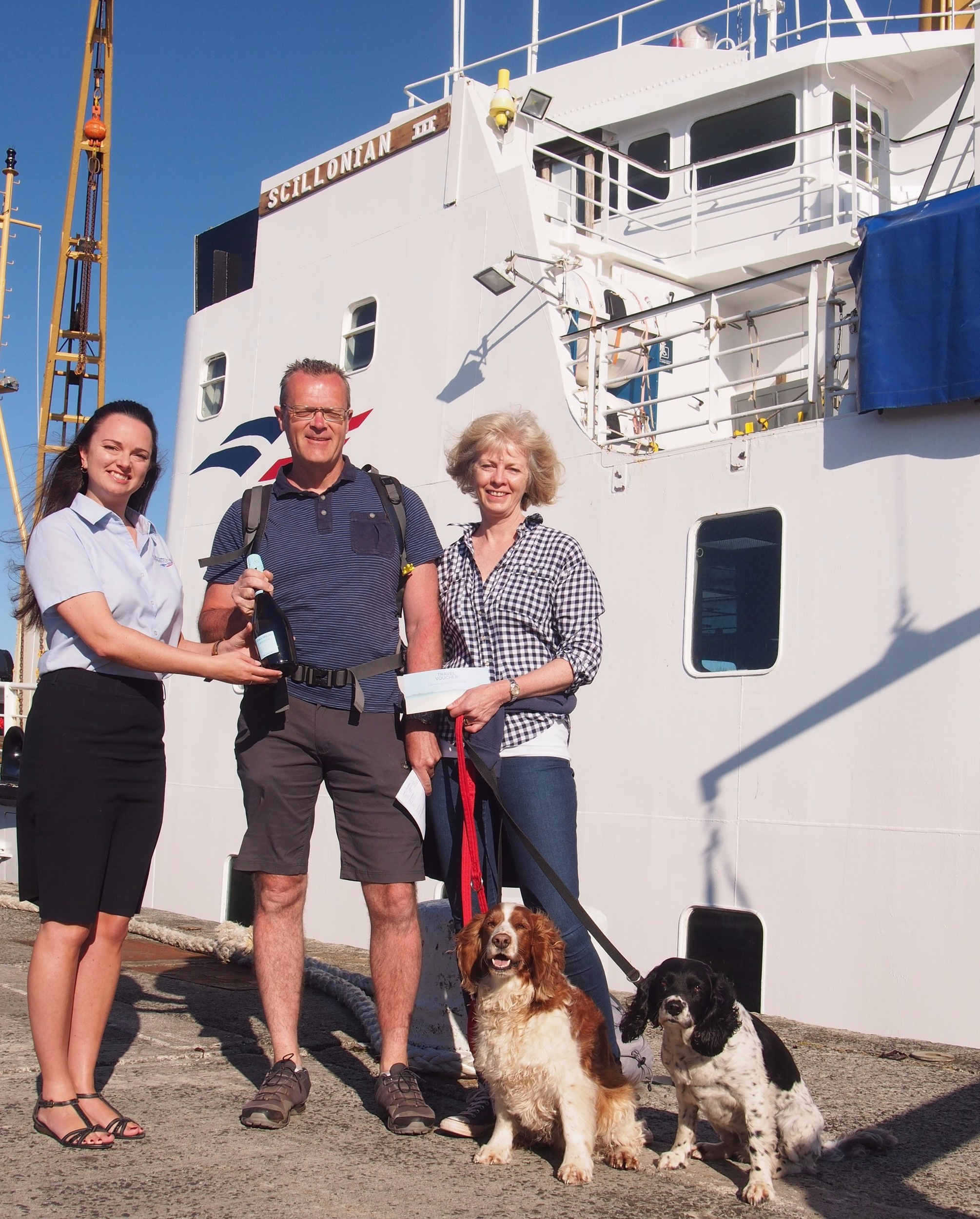 Jacky Shepley from Paignton boarded the ferry to visit the islands with her husband and two dogs and was greeted by the company's Deputy Travel Centre Manager Tammy Matthews, who presented her with a celebratory bottle of fizz and complimentary travel tickets for 2020.
