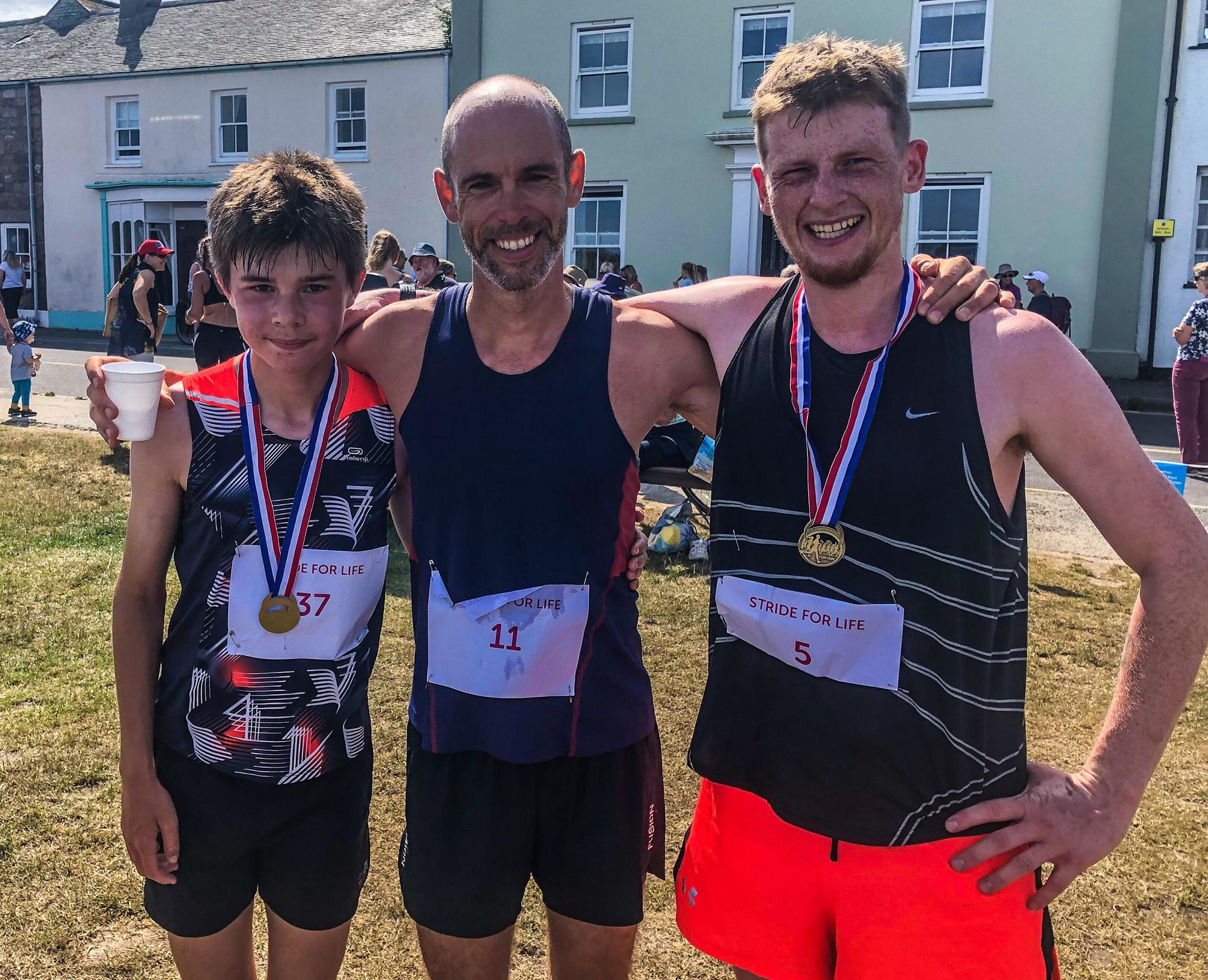 From left to right. 12-year-old Kenny Gibson who was delighted with a personal best on the 10K run. Thomas Stevens crossed the finish line 1st in the 10K run and Leigh Reeve who finished second in the 10K run. Image courtesy of Leigh Reeve.